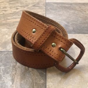 FreePeople Boho Distressed Tan Leather Skinny Belt